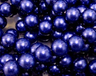 100 pieces 6mm Glass Pearl Beads - Cobalt Blue - A0972