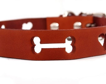Hearts & Bones Leather Collar