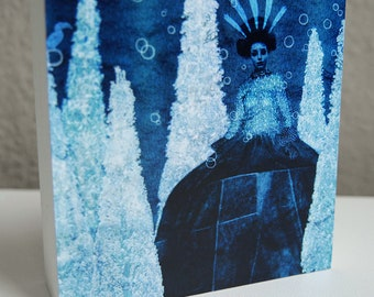 Queen of the night I-photo block-art-wall hangings-blue