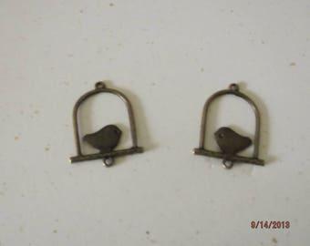 set of 2 pendants charms bird bronze 32 x 25 mm