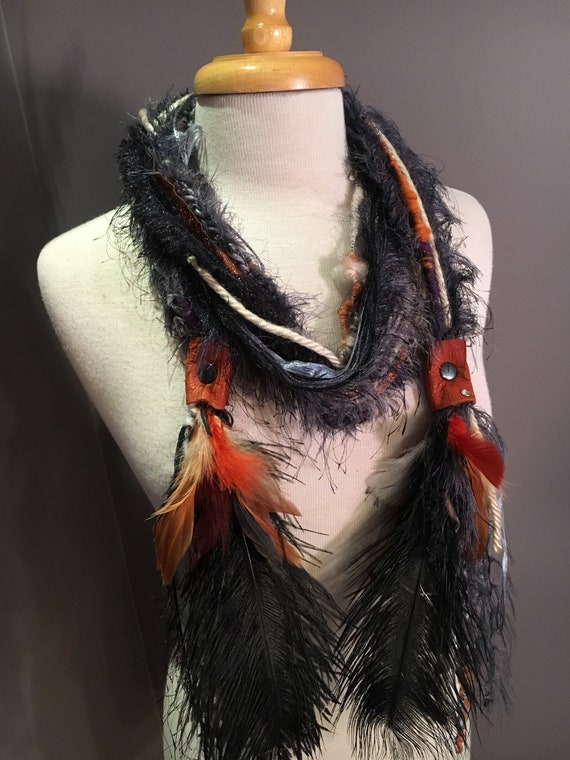 Boho Embellished Fringie with leather straps, crochet rope, rivets, ostrich and dyed feathers,  Knit necklace, cosplay, artwear, fiberart