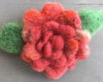 Orange Wool Felted Rose Pin