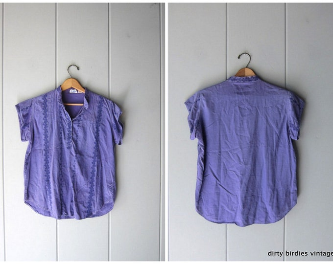 Vintage Indian Top 80s Purple Embroidered Hippie Shirt Ethnic Festival Blouse Floral Embroidery India Top Soft Thin Cotton Womens Medium