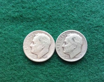 Silver Roosevelt Dimes, 1954 P, D Silver Coins, Old US Coins for Coin Collecting, 90 Percent Silver Dime