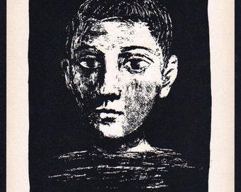 Pablo Picasso 1956 Lithograph +COA after Tête de jeune garçon III, Picasso original work 1945. Exclusive Unique Gift Idea of Very Rare Art