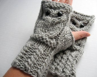 Owl Fingerless Gloves Mittens - Merino Wool Chunky - Silver Gray
