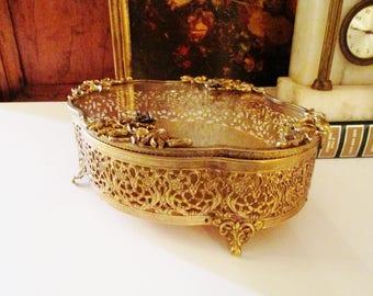 Vintage Stylebuilt Jewelry Casket, Jewelry Box, Ornate Jewerly Box, Vanity Table Decor