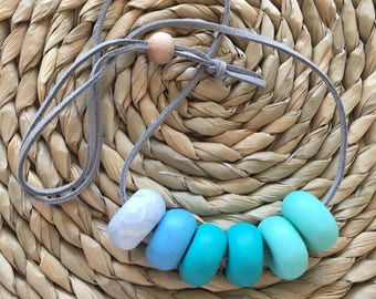 Blue-Toned Polymer Clay Beaded Necklace
