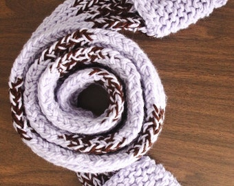Handmade Scarfet (Scarf with Pockets) - Lilac and Coffee - Tween Size