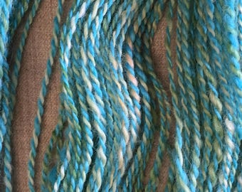 """Hand-Spun 100% Wool Yarn """"Mermaid Blue"""" Hand-Washed, Carded, Spun and Painted, 2 ply, Knit, Crochet, Weave, DK 90 yds, Gorgeous, Wound FREE!"""