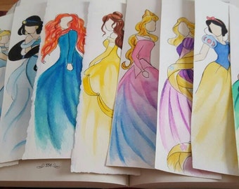 Princess Watercolor Bookmark, Gift For Booklover