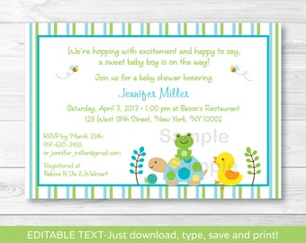 Frog & Turtle Baby Shower Invitation / Frog Baby Shower Invite / Turtle Baby Shower Invite / Baby Boy / Instant Download Editable PDF A350
