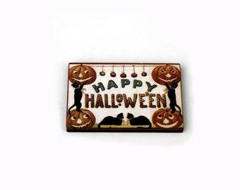 Halloween Brooch, Pumpkin Brooch, Black Cat Brooch, Halloween Badge
