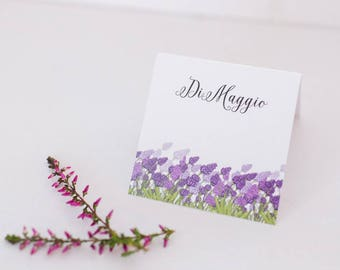 Wedding place cards / Lilac wedding / Rustic place card /  Wedding decorations / Lavender decorations / Floral name cards/ Purple placecards