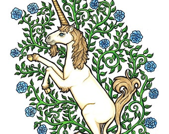 Unicorn with Blue Roses - Watercolor - Art Print
