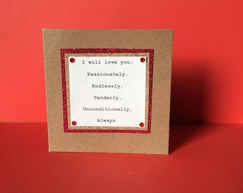 Valentines Card | Romantic poetry | Literature gift | Love card | I will love you card | anniversary card|  bride card | English poetry |