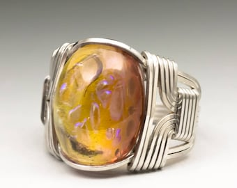 Topaz Dragons Breath Glass Cabochon Sterling Silver Wire Wrapped Ring - Made to Order, Ships Fast!