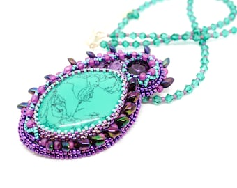 Turquoise necklace 2 in 1 pendant brooch Bead embroidery Statement jewelry Convertible necklace Purple birthday gift for mom Stone necklace