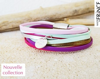 """MARIE-BEATRICE"" Purple, pink, green bracelet"