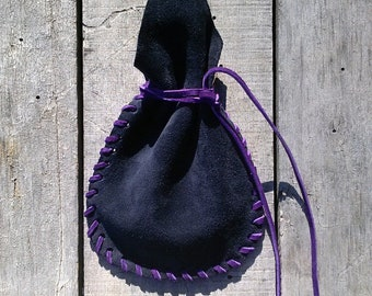 Purple Stitched Leather Pouch