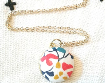 Primary Colored Liberty of London Floral Necklace