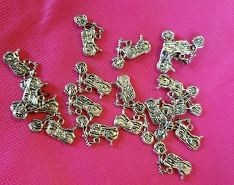 Silver metal alloy Motorcycle Charm