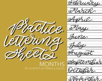 Printable Practice Lettering Worksheets 12 Months