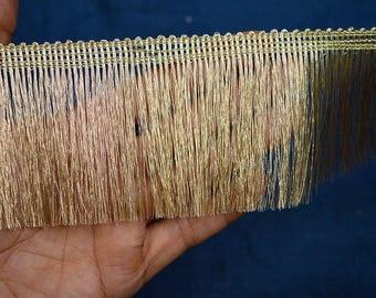 2 Yard Metallic Pale Gold Fringe for Home Decor, Gold Fringe Lace for Indian Wedding Dress, Fringe Eyelash Sewing Trim, Holiday Crafting