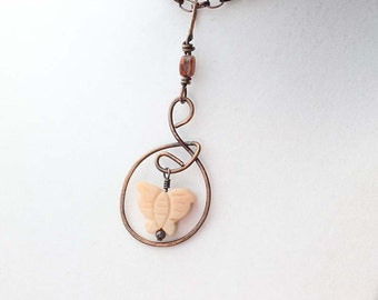 Butterfly Necklace- Oxidized Copper Pendant Necklace- Peach Quartzite Butterfly Stone- Solid Copper- Boho Necklace- Spring Jewelry