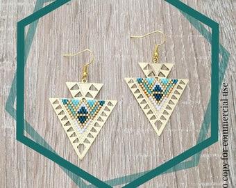 Pair of earrings, Golden, triangles prints beadwork miyuki