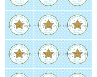PRINTABLE FAVOR TAGS Twinkle Twinkle Little Star - Birthday or Baby Shower - Blue and Gold Glitter - Memorable Moments Studio