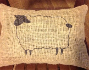 Sheep Pillow, Burlap Pillow, Rustic Pillow, Farm Pillow, Decorative Pillow, Home Decor, Farmhouse, Hmemade, Gift, Birthday, Christmas, Cute