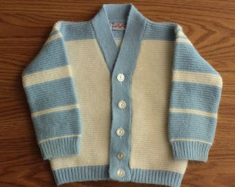 Vintage Toddler Boys Knit Blue and White Striped Cardigan