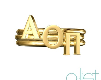 Alpha Omicron Pi Sorority Stack Rings / Alpha Omicron Pi Rings / AOPi Sorority Rings / AOPi Rings / Big Little Gifts / Sorority Jewelry