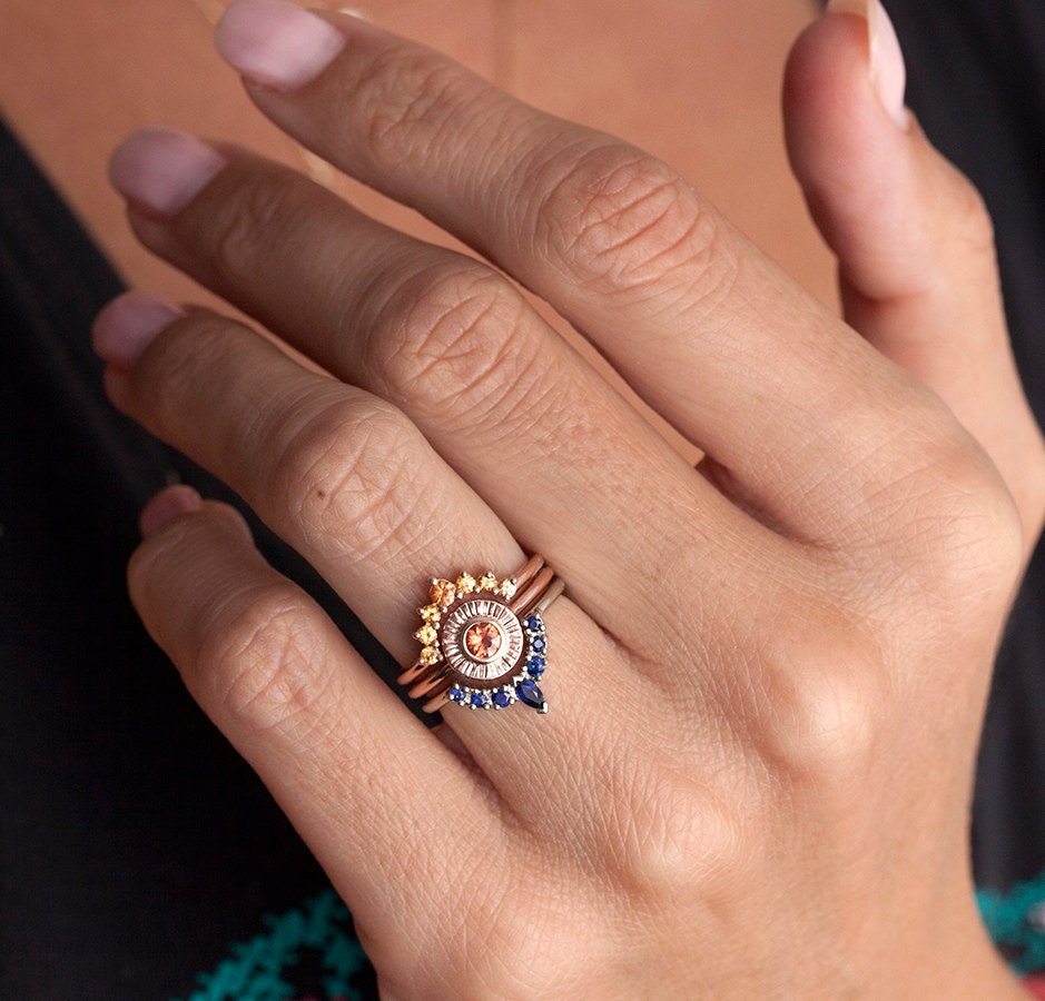 THIS IS ORIGINAL DESIGN - intelectual property from Minimalvs. A beautiful ring set that represents the beauty of the sunset. Listing is for all three sapphire