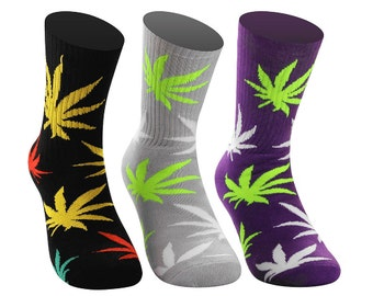 Samson® Weed Cannabis Marijuana Ganja Hash Crew Socks Sport Above Ankle High
