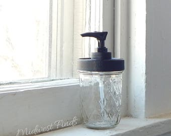 Small Quilted Mason Jar soap dispenser with rustproof pump lid
