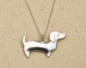 beehive dachshund necklace - sterling silver
