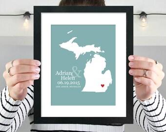 Michigan State Map Art, Michigan Map, Michigan Poster, Michigan Print, Housewarming Gift, Wedding Gift, Anniversary Gift -  Art Print