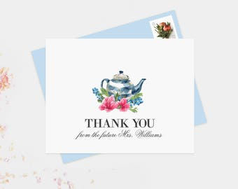 Custom Color Tea Party Bridal Shower Personalized Wedding Thank You Cards,  Bridal Shower, Wedding Cards, Newlywed Monogram Note Cards