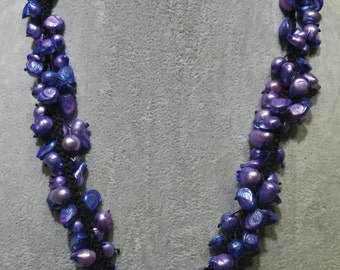 Purple blue mix freshwater pearl necklace