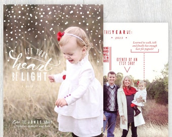 Printable Christmas card with photos - Let your heart be light - Family facts - Falling snow - Holiday card - Family updates - Customizable