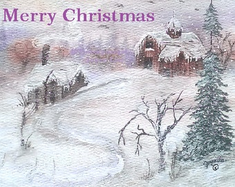 Christmas Cards     From My Painting Winter Homestead  Set of 10
