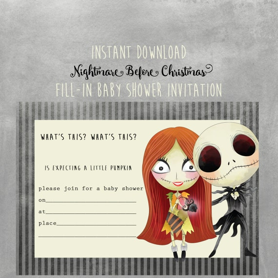 Nightmare before christmas baby shower invitation instant filmwisefo