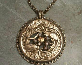 Art Nouveau Pendant w/ Chain