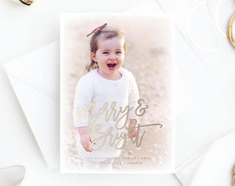 Foil Pressed Photo Holiday Card | Merry & Bright