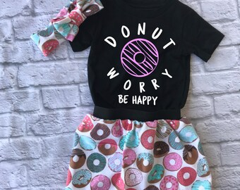donut worry - donut shirt - donut party - girls birthday outfit - toddler girl skirt - donut skirt - donut birthday - funny kids shirt