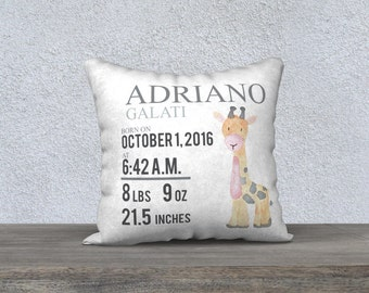 Race car name pillow personalized baby pillow baby gift giraffe personalized birth pillow birth annoucement pillow baby gift boy nursery decor negle Choice Image