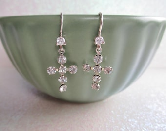 Earrings Sterling silver Swarovski Cross earrings first Communion Confirmation jewelry Easter gift for her girls tween teen Christian
