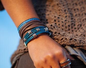Girlfriend Gift for her Set of 3 Women Bracelet Bracelets Leather Wrap Leather bracelet Turquoise Bracelet Boho Wrap Bracelet Womens Jewelry